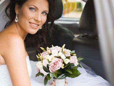 young bride in limo