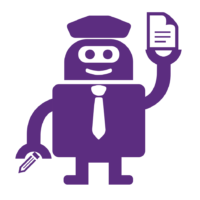 robot with pen and paper