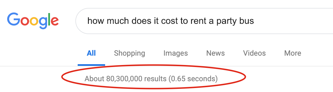 how much does it cost to rent a party bus results